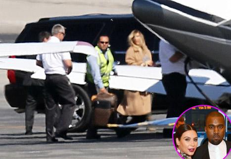 Kanye West, Kim Kardashian Board Private Plane in L.A.: Picture