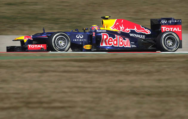Red Bull Racing's Australian driver Mark Webber drives at Catalunya's racetrack in Montmelo, near Barcelona, during the Formula One test days on March 1, 2012.  AFP PHOTO / LLUIS GENE (Photo credit sh
