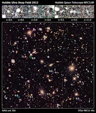 This new image of the Hubble Ultra Deep Field (HUDF) 2012 campaign reveals a previously unseen population of seven faraway galaxies, which are observed as they appeared in a period 350 million to 600 million years after the big bang.