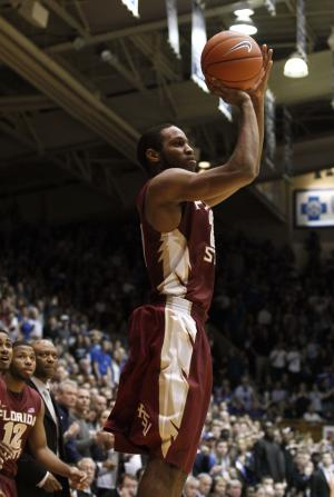 Florida State's Michael Snaer shoots the game-winning basket during the second half of an NCAA college basketball game against Duke in Durham, N.C., Saturday, Jan. 21, 2012. Florida State won 76-73. (AP Photo/Gerry Broome)