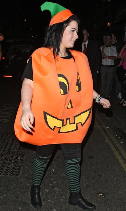 X Factor's Lucy Spraggan gets our Best Costume of the night award in her pumpkin gear. Copyright [Wenn]