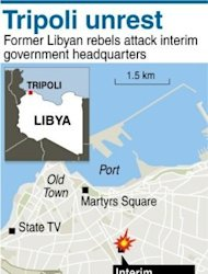 A map of entral Tripoli locating the headquarters of Libya&#39;s interim government. Libyan security forces repelled armed demonstrators who had surrounded and stormed government headquarters in Tripoli, a senior official said, adding one person was killed in clashes