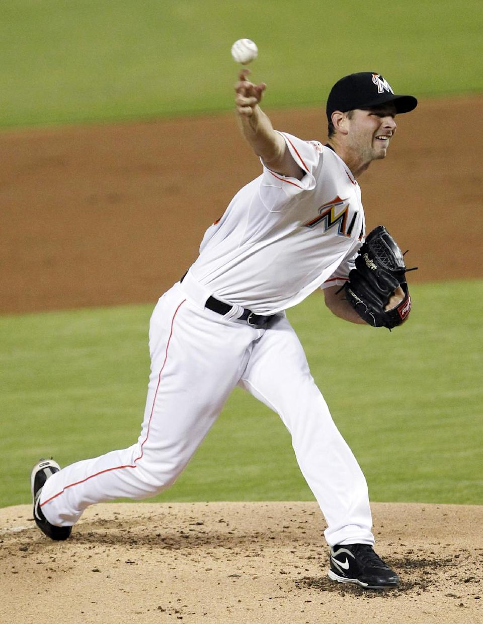 Miami Marlins' Jacob Turner delivers a pitch during the third inning of a baseball game against the Washington Nationals, Wednesday, Aug. 29, 2012, in Miami. (AP Photo/Wilfredo Lee)