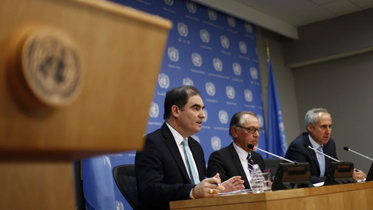OCHA Director of Operations Ging, U.N. Deputy Secretary-General Eliasson and Dujarric, Spokesman for U.N. Secretary-General Ban attend a briefing about Gaza, at the United Nations headquarters in New York