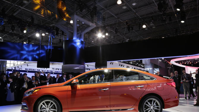 The 2015 Hyundai Sonata is introduced at the New York International Auto Show, Wednesday, April 16, 2014 in New York. (AP Photo/Mark Lennihan)