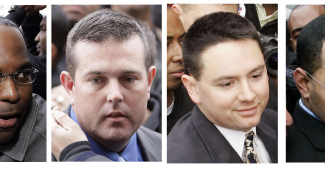 FILE - In Tuesday, Jan. 2, 2007 file photos, four New Orleans police officers are seen in a combination of photos as they arrive for booking in New Orleans. From left:  Robert Faulcon Jr., Robert Gisevius Jr., Kenneth Bowen, and Anthony Villavaso II. Jury selection is set to begin Wednesday, June 22, 2011 in the federal case spawned by the fatal shootings by police of two people and wounding of four others on the Danziger Bridge less than a week after Hurricane Katrina.   (AP Photos, File)