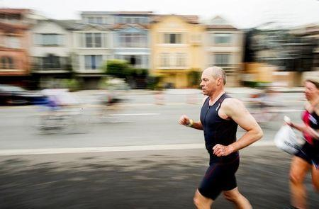 Runners and bikers compete in the 34th annual Escape from Alcatraz Triathlon in San Francisco