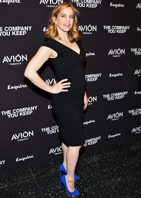 Anna Chlumsky Shows Off Growing Baby Bump, Cleavage in Tight Black Dress