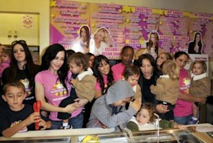 Octomum Nadya Suleman and her large family (plus helpers) launch her new milkshake in a West Hollywood store in November. (Photo: Toby Canham/Getty Images)