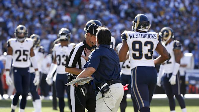 St. Louis Rams head coach Jeff Fisher puts his hand on a referee during the first half of an NFL football game against the San Diego Chargers, Sunday, Nov. 23, 2014, in San Diego