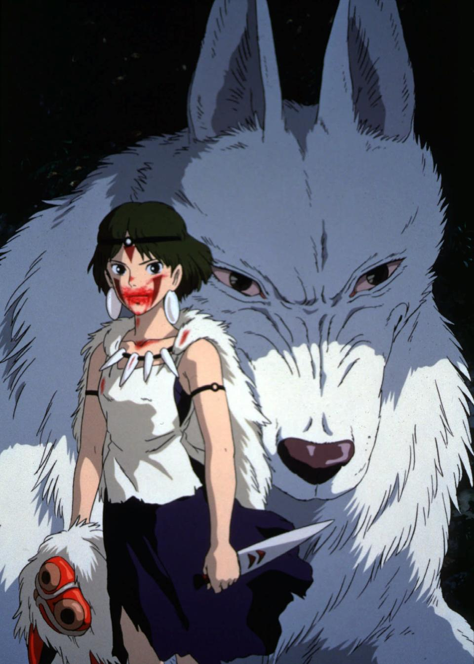 "FILE - This Sept. 18, 1997 publicity image provided by Toho shows the title character ""Princess Mononoke,"" heroine of Japan's mega-hit movie.  (AP Photo/Itsuo Inouye) MANDATORY CREDIT: TOHO"