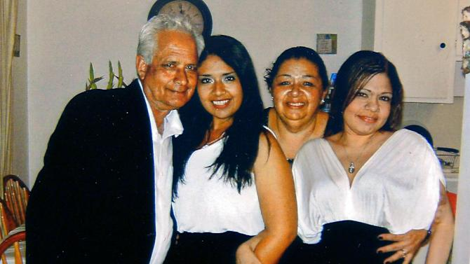 This undated photo provided by the family shows, from left, Carlos Navarro Franco, Marcela Franco, Ramona Franco and Letecia Franco. Marcela Franco died Sunday, June 9, 2013, after Friday's deadly rampage in Santa Monica, Calif. Marcela Franco had been a passenger in a Ford Explorer driven by her father, campus groundskeeper Carlos Navarro Franco who also was killed in Friday's attack. (AP Photo/Family Photo)