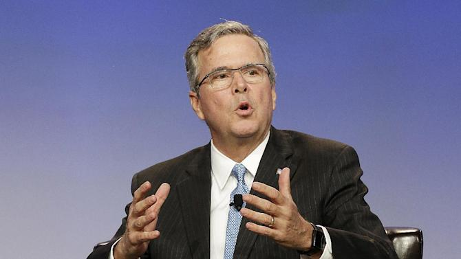 FILE - In this Jan. 23, 2015 file photo, former Florida Gov. Jeb Bush speaks in San Francisco. Jeb Bush and Mitt Romney are getting most of the attention in the early days of the Republican race for president. But as they court the party's elite donors, some potential 2016 candidates who are to the right are just as eagerly chasing early support among evangelicals and social conservatives.  (AP Photo/Jeff Chiu, File)