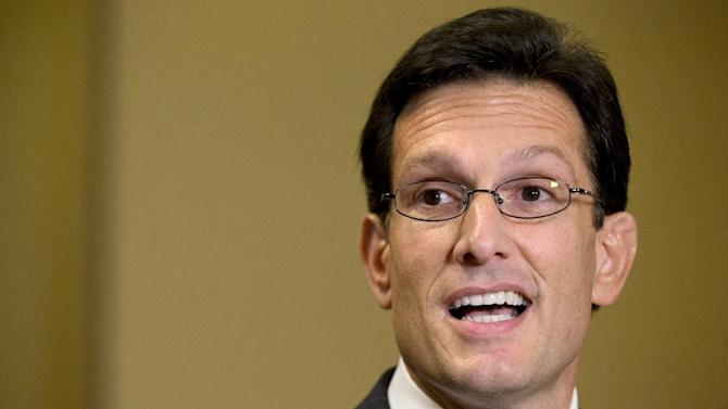 """House Majority Leader Rep. Eric Cantor, R-Va., speaks to the media about the fiscal cliff and """"Plan B,"""" at the U.S. Capitol in Washington, on Thursday, Dec. 20, 2012. (AP Photo/Jacquelyn Martin)"""