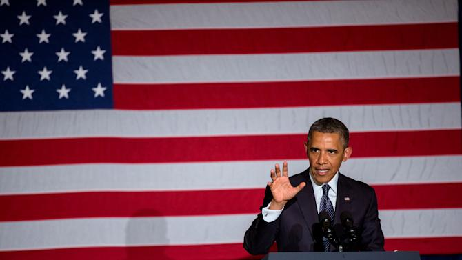 President Barack Obama speaks at a fundraiser for the Democratic Congressional Campaign Committee at the Chicago Hilton on Wednesday, May 29, 2013. (AP Photo/Chicago Tribune, Zbigniew Bzdak, Pool)
