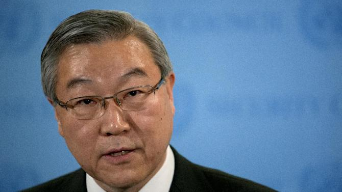 South Korea's Foreign Minister Kim Sung-hwan speaks at a news conference at United Nations headquarters after the Security Council held an emergency meeting on North Korea's nuclear test Tuesday, Feb. 12, 2013. (AP Photo/Craig Ruttle)