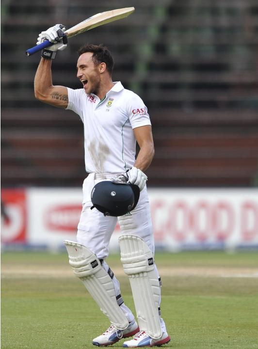 South Africa's Du Plessis celebrates his century during the final day of their test cricket match against India in Johannesburg