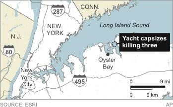 Map locates where a yacht capsized near Oyster Bay, New York.