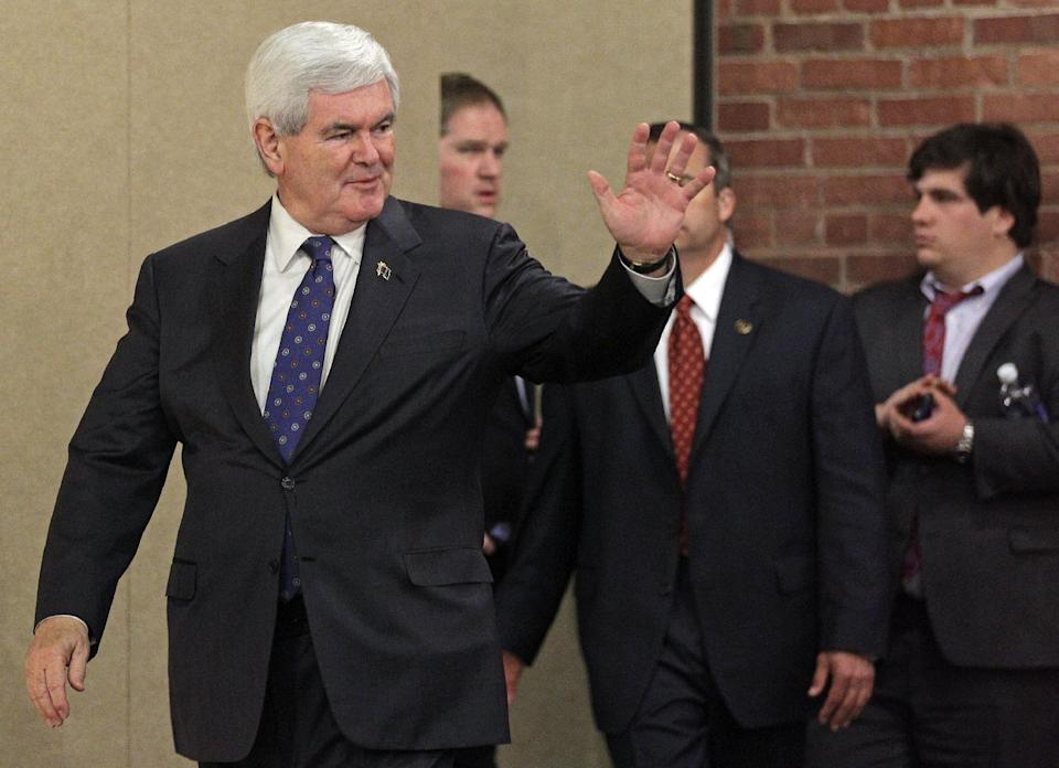 Republican presidential candidate, former House Speaker Newt Gingrich greets supporters at an election rally in Concord, N.C., Tuesday, April 24, 2012. (AP Photo/Chuck Burton)