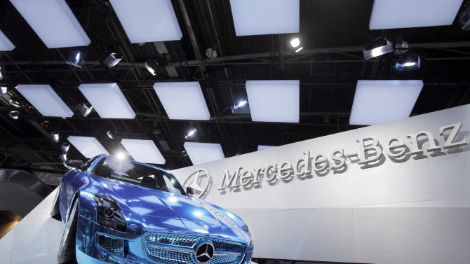 The Mercedes SLS AMG Electric Sports Car on display during the press day at the Paris Auto Show, France, Thursday, Sept. 27, 2012. The Paris Auto Show will open its gates to the public from Sept. 29 to Oct. 14. (AP Photo/Christophe Ena)