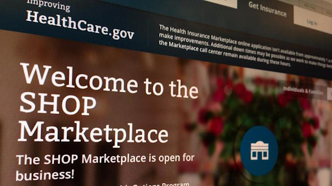 FILE - This Wednesday, Nov. 27, 2013, file photo, taken in Washington, shows part of the HealthCare.gov website page featuring information about the SHOP Marketplace. People who have accounts on the enrollment website for President Barack Obama's signature health care law are being told to change their passwords following an administration-wide review of the government's vulnerability to the confounding Heartbleed computer virus. Senior administration officials said there is no indication that the HealthCare.gov site has been compromised and the action is being taken out of an abundance of caution. (AP Photo/Jon Elswick, File)