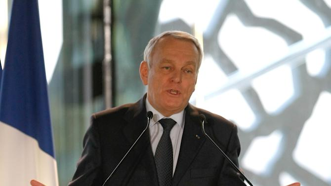 "French First Minister Jean-Marc Ayrault delivers his New Year wishes ceremony speech to the world of the culture, in Marseille, southern France, Saturday, Jan. 12, 2013, at the occasion of the launch of ""Marseille - Provence 2013, European capital of the culture"". (AP Photo/Claude Paris)"