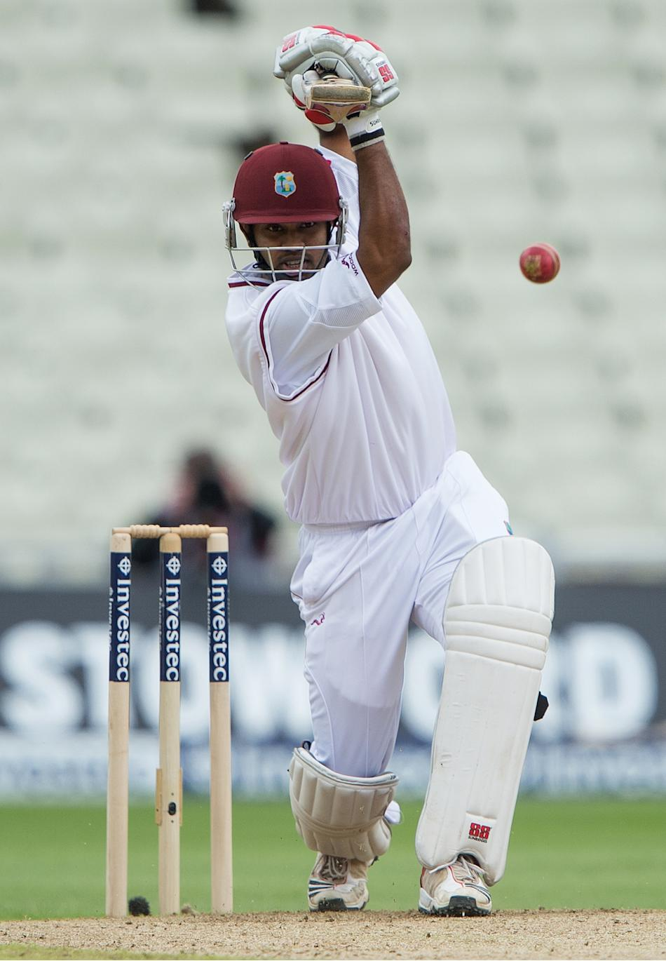 West Indies Adrian Barath bats during th