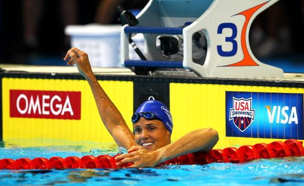 Dara Torres celebrates after she competed in the second semi final heat of the Women's 50 m Freestyle during Day Seven of the 2012 U.S. Olympic Swimming Team Trials at CenturyLink Center on July 1, 2012 in Omaha, Nebraska. (Photo by Al Bello/Getty Images)