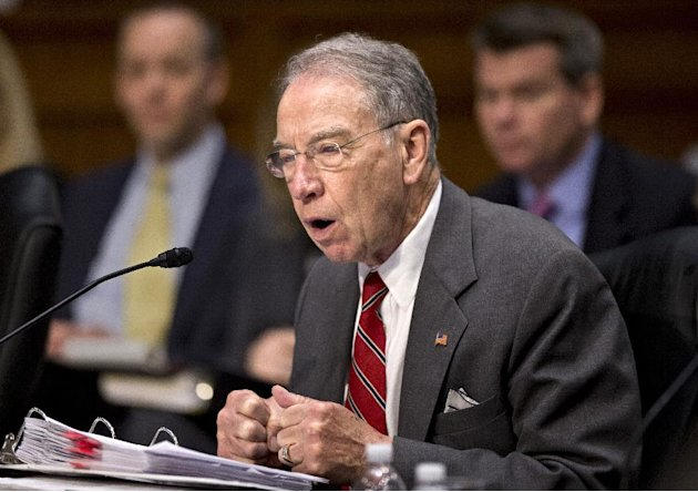 Sen. Chuck Grassley, R-Iowa, the ranking Republican on the Senate Judiciary Committee makes a point on Capitol Hill in Washington, Monday, May 20, 2013, as lawmakers work on a landmark immigration bil