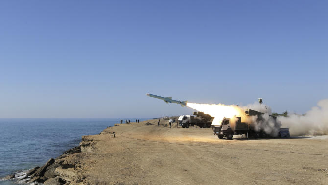 "A Ghader missile is launched from the area near the Iranian port of Jask port on the shore of the Gulf of Oman during an Iranian navy drill, Tuesday, Jan. 1, 2013. Iran says it has tested advanced anti-ship missiles in the final day of a naval drill near the strategic Strait of Hormuz, the passageway for one-fifth of the world's oil supply. State TV says ""Ghader"", or ""Capable"", a missile with a range of 200 kilometers (120 miles), was among the weapons used Tuesday. It says the weapon can destroy warships. (AP Photo/Jamejam Online, Azin Haghighi)"