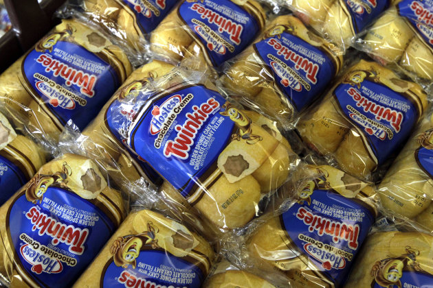 <p>               Twinkies baked goods are displayed for sale at the Hostess Brands' bakery in Denver, Colo. on Friday, Nov. 16, 2012. Announcements that Hostess Brands will be going out of business prompted a buyers' run on the bakery. (AP Photo/Brennan Linsley)