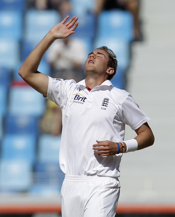 England's Stuart Broad reacts after makes an unsuccessful appeal for the wicket during the second day of the third cricket test match of a three match series between England and Pakistan at the Dubai
