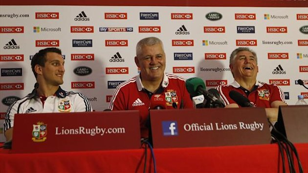 British and Irish Lions captain Sam Warburton, head coach Warren Gatland and tour manager Andy Irvine smile during a news conference, after the team won the test series over the Australia Wallabies (Reuters)