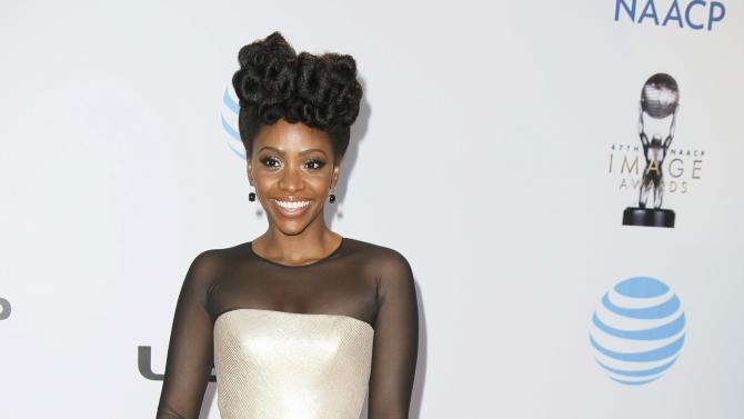 Actress Teyonah Parris arrives at the 47th NAACP Image Awards in Pasadena
