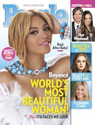 "In this cover image released by People, singer Beyonce graces the cover of People magazine's special issue naming her the World's Most Beautiful Woman for 2012. The 30-year-old singer tops the magazine's annual list of the ""World's Most Beautiful"" in a special double issue. The announcement was made Wednesday, April 25, 2012. (AP Photo/People)"