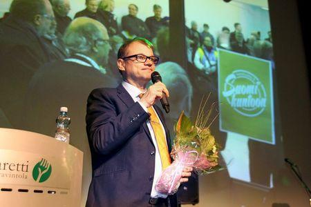 Center Party Chairman Juha Sipila gives a speech at the party's election celebrations in Oulu