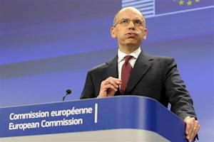 Italy's Prime Minister Letta holds a news conference at the EU Commission headquarters in Brussels