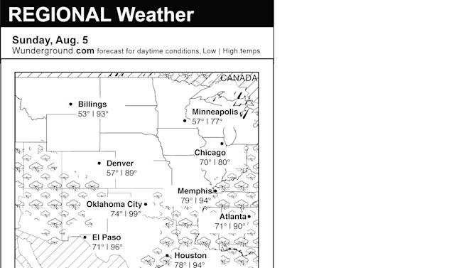 This is the Weather Underground forecast for Sunday, Aug. 5, 2012 for the central region of the U.S. (AP Photo/Weather Underground)