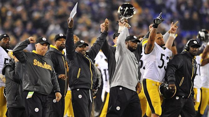 Pittsburgh Steelers head coach Mike Tomlin, center, joins the rest of the bench in celebrating the winning field goal during the second half of an NFL football game against the Baltimore Ravens in Baltimore, Sunday, Dec. 2, 2012. The Steelers won 23-20. (AP Photo/Gail Burton)