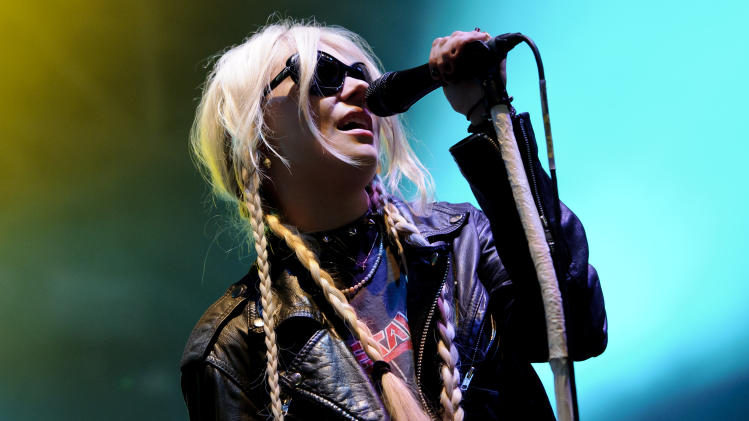 U.S. singer, Taylor Momsen, from rock band, The Pretty Reckless, performs at the Wireless Festival at Hyde Park, London, Sunday, July 3, 2011. (AP Photo/Jonathan Short)