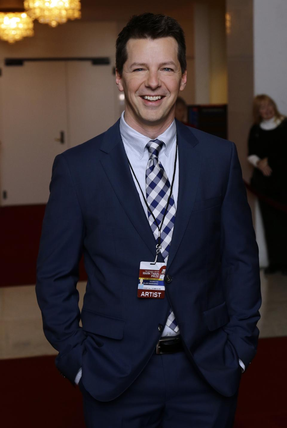 Actor Sean Hayes poses for photographers on the red carpet before entertainer Ellen DeGeneres receives the 15th annual Mark Twain Prize for American Humor at the Kennedy Center, Monday, Oct. 22, 2012, in Washington. (AP Photo/Alex Brandon)