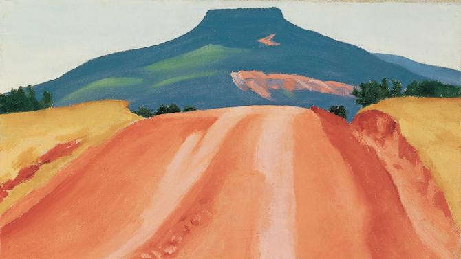 """This image provided by the Georgia O'Keeffe Museum shows """"Road to Pedernal,"""" 1941, Georgia O'Keeffe Museum, gift of The Georgia O'Keeffe Foundation. A new exhibition highlighting the remote stretches of desert artist Georgia O'Keeffe called """"the faraway"""" and the paintings those places inspired opens May 11, 2012, at the museum in Santa Fe, N.M. (AP Photo/Georgia O'Keeffe Museum)"""