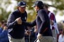U.S. golfer Bradley celebrates with Mickelson after sinking a birdie putt to win the ninth hole during the morning foursomes round at the 39th Ryder Cup matches at the Medinah Country Club