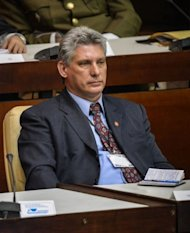 <p>Cuban elected first Vice-President Miguel Diaz-Canel participates in the new National Assembly meeting to choose a Council of State, at the Conventions Palace in Havana on February 24, 2013. Diaz-Canel has been named the regime's number two.</p>