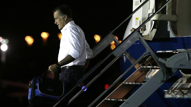 Republican presidential candidate and former Massachusetts Gov. Mitt Romney arrives in Jacksonville, Fla., Tuesday, Sept. 11, 2012. (AP Photo/Charles Dharapak)