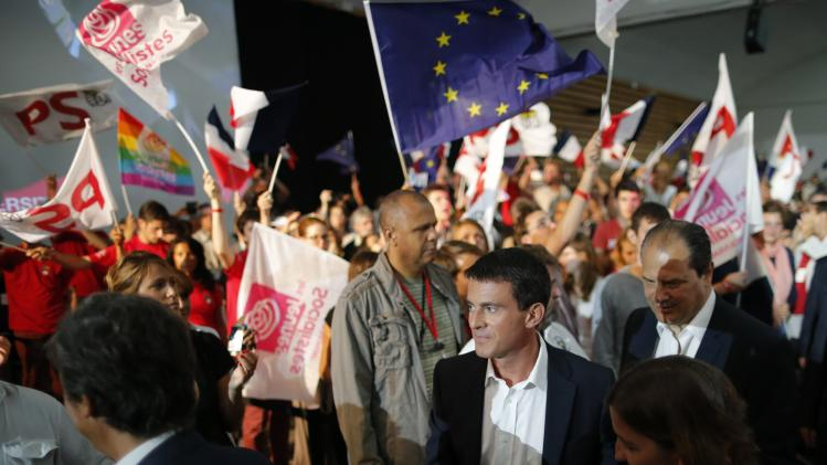 "French Prime Minister Valls and French Socialist Party head Cambadelis attend the Socialist Party's ""Universite d'ete"" summer meeting in La Rochelle"