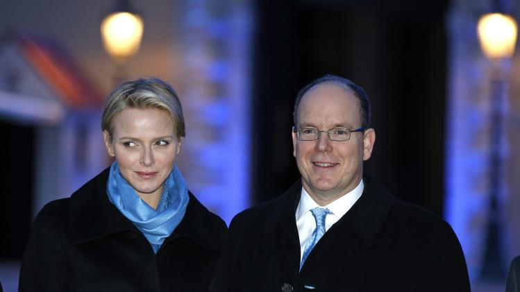Prince Albert II of Monaco and his wife Princess Charlene attend an event at Monaco Palace square on World Autism Day in Monaco