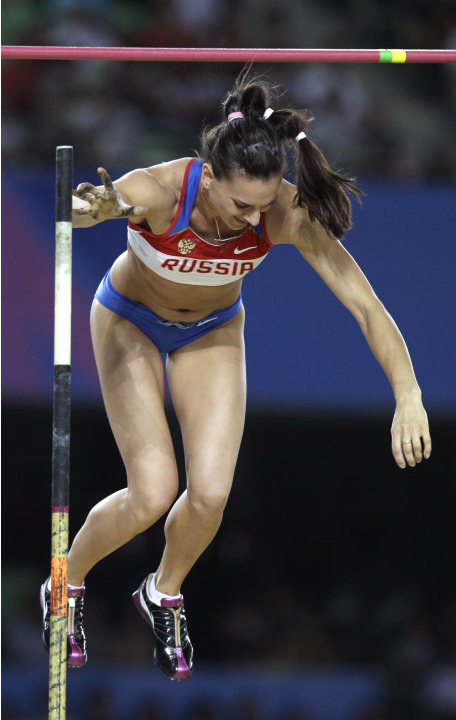 Russia's Yelena Isinbayeva makes a failed attempt  in the Women's Pole Vault final at the World Athletics Championships in Daegu, South Korea, Tuesday, Aug. 30, 2011. Isinbayeva placed sixth.  (AP Pho