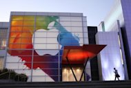 The Apple logo is displayed at the Yerba Buena Center for Arts in San Francisco in March. The stage is set for Apple to unveil a new-generation iPhone on Wednesday as the company once again lays claim to the heart of the Internet age lifestyle