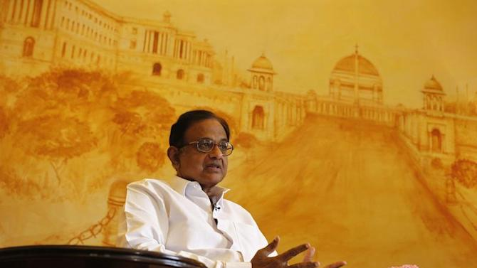 India's FM Chidambaram speaks during an interview with Reuters in New Delhi